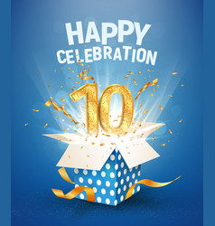 10 th years anniversary and open gift box with vector image
