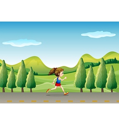 A girl jogging at street with trees vector