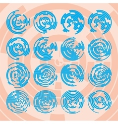 Abstract hightech blue collection set 16 radars vector