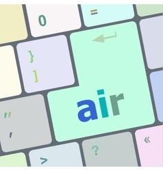 Air on computer keyboard key enter button vector
