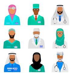 arab medical staff set vector image