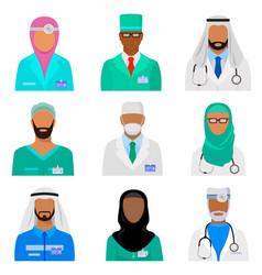 Arab medical staff set vector