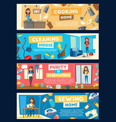 banners for house cleaning and cooking vector image