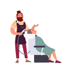 bearded male hipster hairdresser or stylist vector image