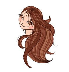 Beautiful brown haired woman with long hair vector image