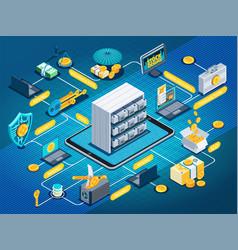 Blockchain cryptocurrency isometric flowchart vector