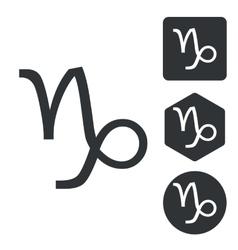 Capricorn icon set monochrome vector