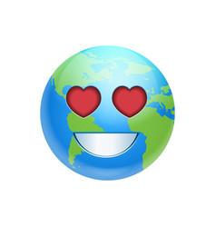 cartoon earth face smile with heart shape eyes vector image