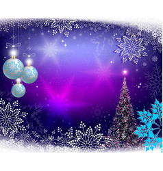 Christmas blue background with christmas tree and vector