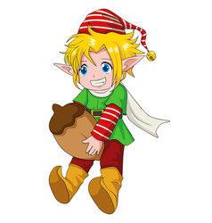 Christmas cartoon elf boy vector