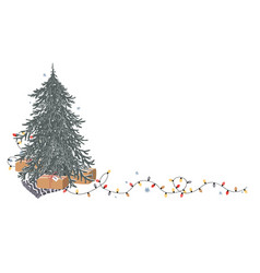 christmas corner composition with place for text vector image