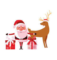 christmas santa claus reindeer and gifts vector image