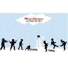 christmas scene with a kids having fun in the snow vector image