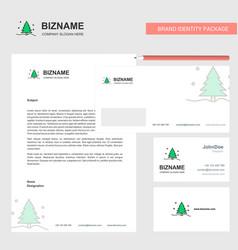 Christmas tree business letterhead envelope and vector