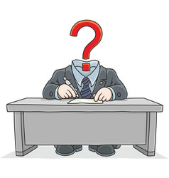 clerk with a question mark instead of his head vector image