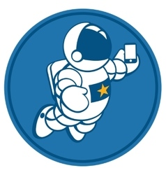 Cosmonaut with smartphone in hand vector