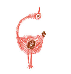 Crazy funny bird looking up in red and brown vector