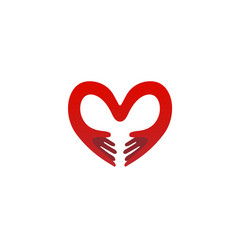 creative hands and heart symbol logo vector image