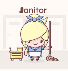 Cute chibi kawaii characters alphabet professions vector