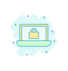 cyber security icon in comic style padlock locked vector image