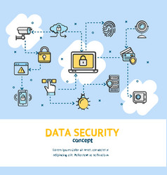 data security signs concept banner card vector image