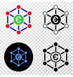 euro network eps icon with contour version vector image