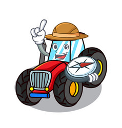 Explorer tractor mascot cartoon style vector