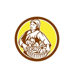 Female Organic Farmer Basket Harvest Retro vector image