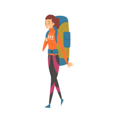 female tourist walking with backpack young woman vector image