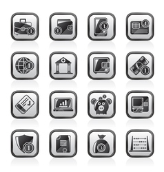 Financial banking and money icons vector image