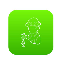 fisherman icon green vector image