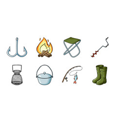 fishing and rest icons in set collection for vector image
