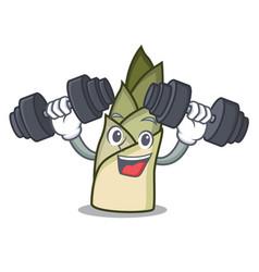 Fitness bamboo shoot character cartoon vector