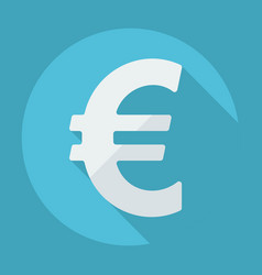 Flat modern design with shadow euro symbol vector