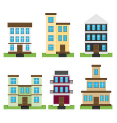 flat set of houses isolated on whute background vector image
