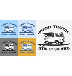 Food truck logo set vector
