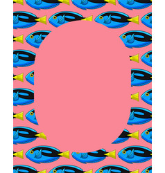 Frame with surgeonfish pattern on pink background vector