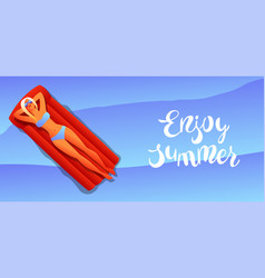 girl in bikini sunbath and relax vector image