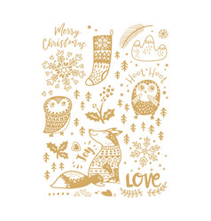 gold art collection of animals and winter elements vector image