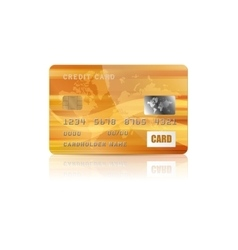 Gold credit card icon in realistic style vector