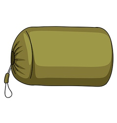 Green camping sack alone vector