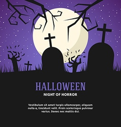 Halloween with Grave Zombies and the Moon vector image