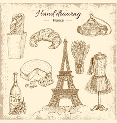 hand drawing france elements set vector image vector image