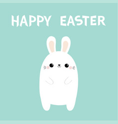 happy easter white rabbit bunny cute kawaii vector image