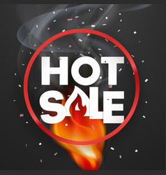 hote sale banner photoreal round label with fire vector image