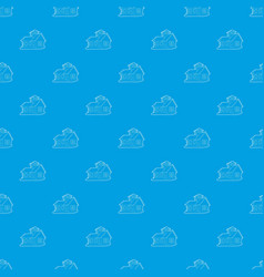 house pattern seamless blue vector image