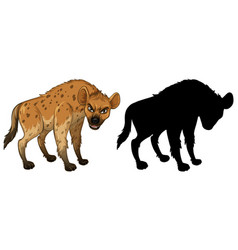 Hyena characters and its silhouette on white vector