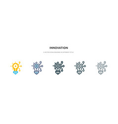Innovation icon in different style two colored vector