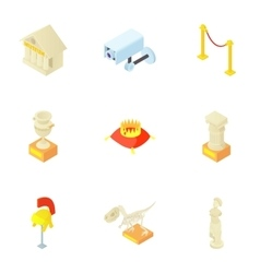 Items in museum icons set cartoon style vector image