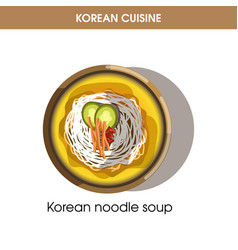 Korean cuisine noodle soup traditional dish food vector